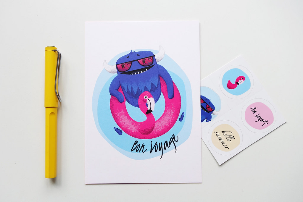 Monster Postcard and Stickers