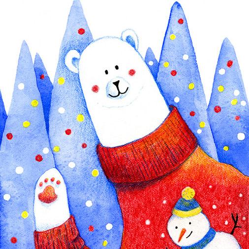 Christmas Bear watercolour illustration
