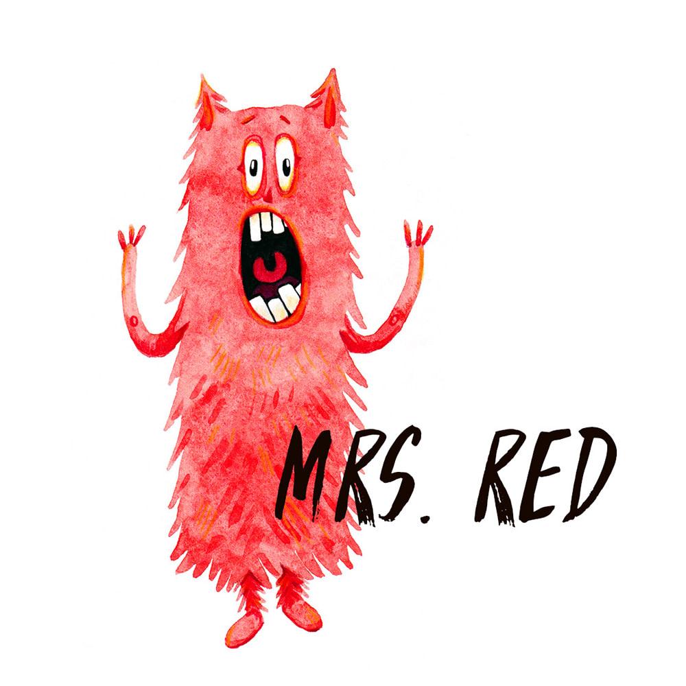Red Monster watercolour illustration