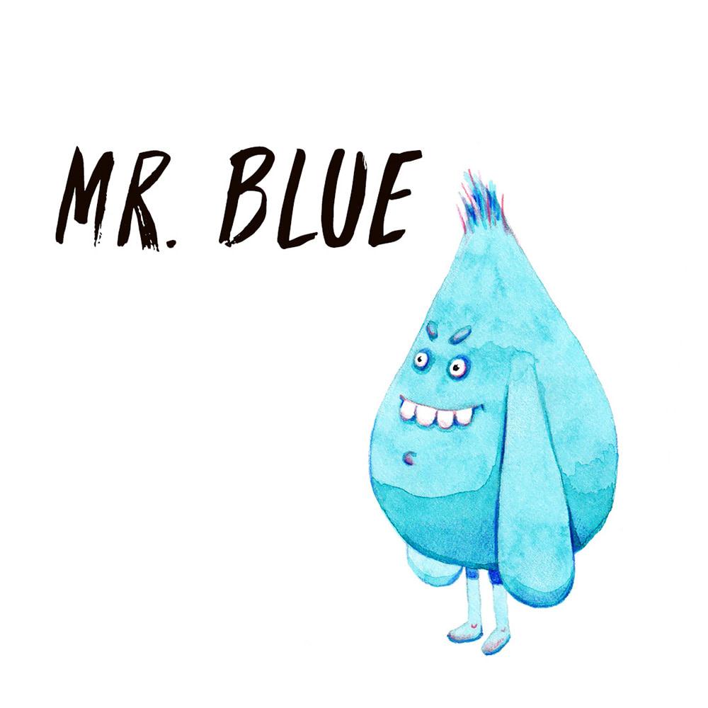 Blue Monster watercolour illustration