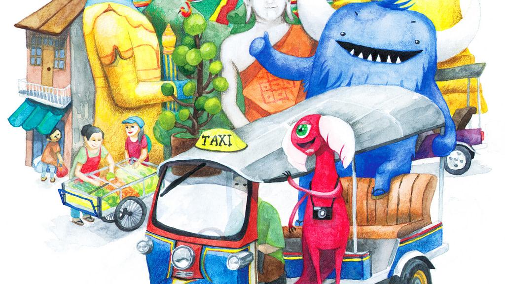Monsters in Bangkok illustration detail