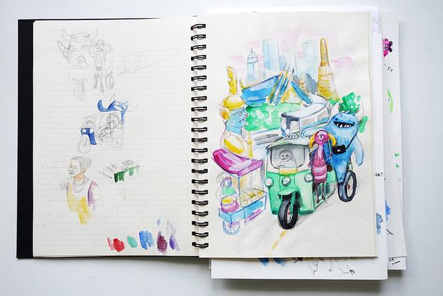 Monsters Sketchbook Page