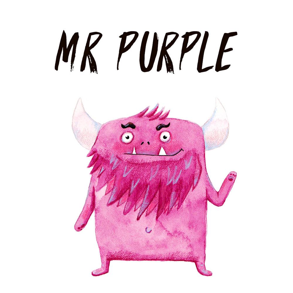 Purple Monster watercolour illustration
